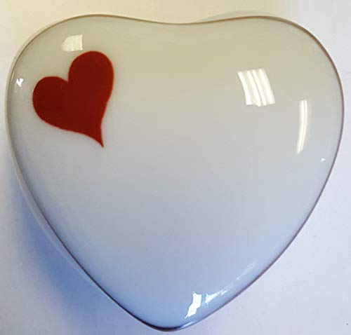 Limoges New Authentic Signed Porcelain Hand Painted Heart Shaped Box (Made in ()