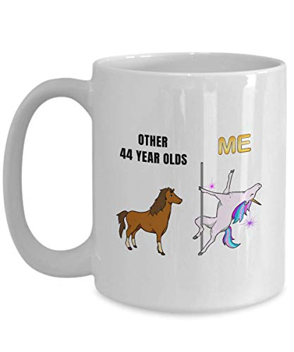 Unicorn 44th Birthday White Coffee Mug - 44 Year Old Birthday Gift Ideas Wife Mom Sister Her - Forty Four Years Age Women