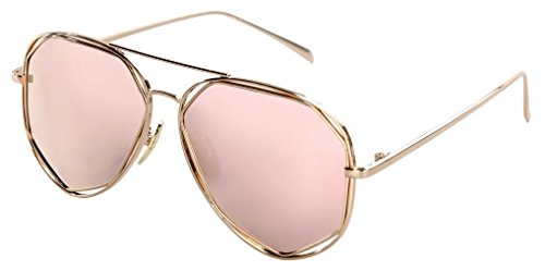 f9ec01c9c3c WODISON Polarized Aviator Sunglasses for Women Reflective Lens Mirrored  Eyeglasses Metal Frame Rose Gold Lens