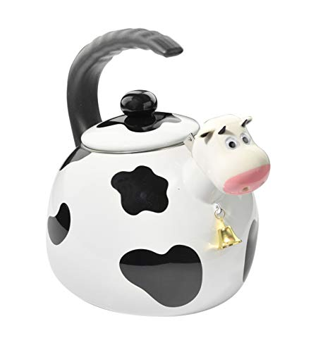HOME-X Cow Whistling Tea Kettle, Cute Animal Teapot, Kitchen