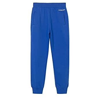 UNACOO Boys Casual Soft French Terry Cotton Pull-on Jogger Pants with 2-Pocket (Blue, XL(11-12T))
