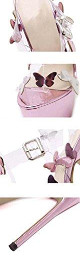 SHEO sandalias de tacón alto Señoras impermeable tabla fina con tacón alto con sandalias transparentes Pink