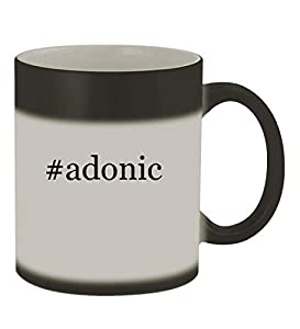 #adonic - 11oz Color Changing Hashtag Sturdy Ceramic Coffee Cup Mug, Matte Black