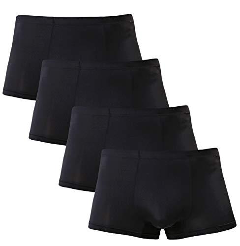 Men's Silk Boxer Briefs Low Rise Breathable Seamless Underwear 4 Pack Black ()