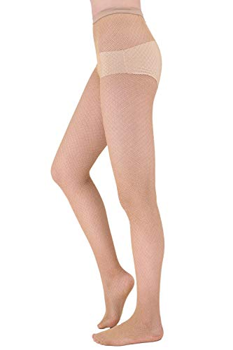 HeyUU Womens Hollow Out Fishnet Sheer Tights Golden/Silver Sparkling Patterned Pantyhose (Golden A.) ()