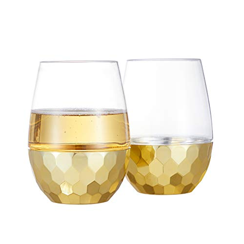 HOMIP Unbreakable Stemless Wine Glasses – 16 oz White and Red Wine Plastic Tumbler – Outdoor Pool Safe Disposable…