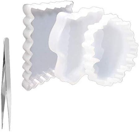 Tappetini per Tazze Stampi in Silicone Puzzle Irregolare 3 PZ Domilay Stampi in Resina per Sottobicchieri Stampo in Resina Epossidica per Realizzare Sottobicchieri Geode