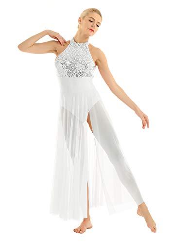 Freebily Women's Halter Sequins Lyrical Dress Contemporary Ballet Dance Costume Leotard Flowy Split Skirt White X-Large