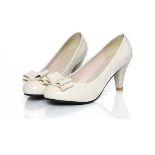 Charme Voet Mode Bogen Dames Hoge Hak Mary Jane Pumps Schoenen Beige