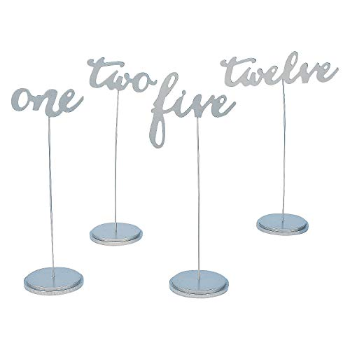 Silver Table Numbers (1-12 wooden calligraphy) Wedding and Party Supplies