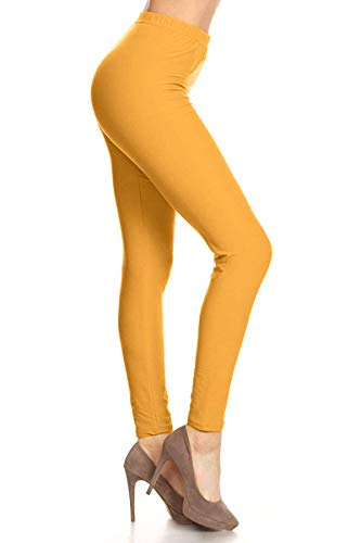 - LDR128-Mustard Basic Solid Leggings, One Size