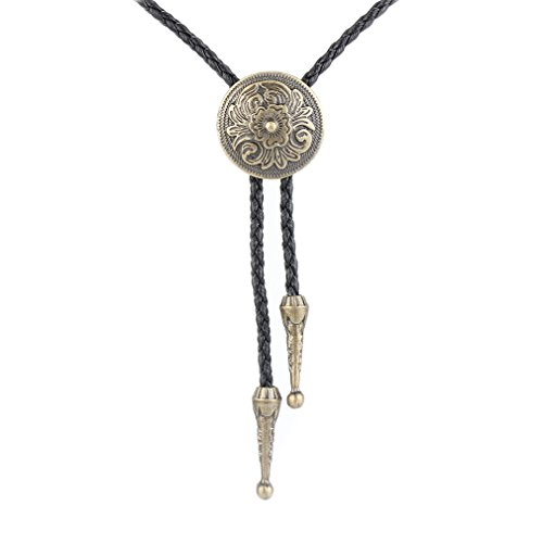 Jenia Native American Cowboy Bolo Tie Gold Flower Rodeo Leather Necktie Western Necklace for Women Men Kids Boy Girl ()