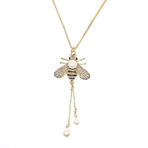 TULIP LY Honey Bee Necklace Crystal Insect Themed Bee Necklace Animal Fashion Shell Pearl Long Necklaces Gold Tone for Women Gril Jewelr(White Pearl Necklace)