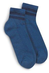 Blue Quarter Socks with Navy Stripe 3 Pack, Size M