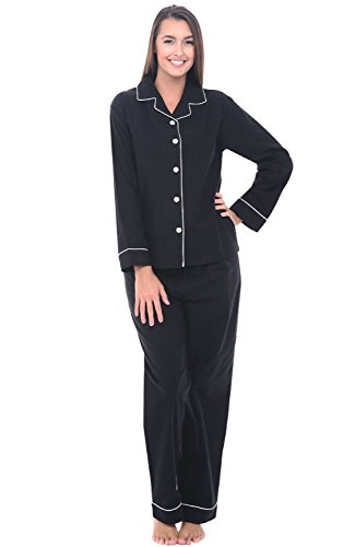 Alexander Del Rossa Women's Warm Flannel Pajama Set, Long Button Down Cotton Pjs, 3X Black with White Piping (A0509BLK3X)