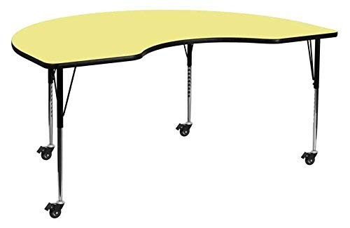 Flash Furniture Mobile 48''W x 72''L Kidney Yellow Thermal Laminate Activity Table - Standard Height Adjustable Legs