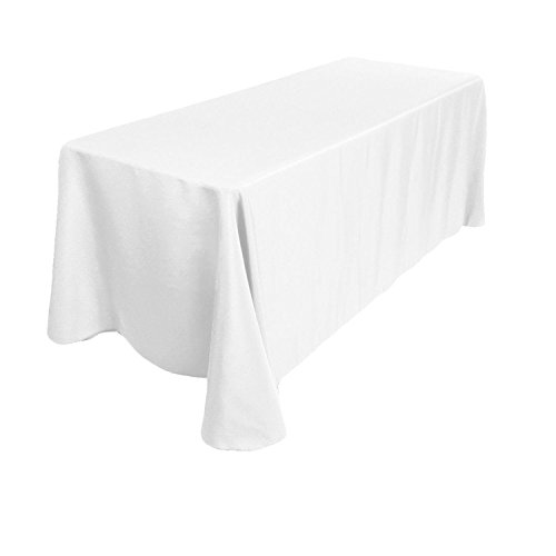 GFCC 90 x 132 -Inch White 225cmx330cm Rectangular Polyester Tablecloth from USA , 100% Polyester, 10-Pack by GFCC