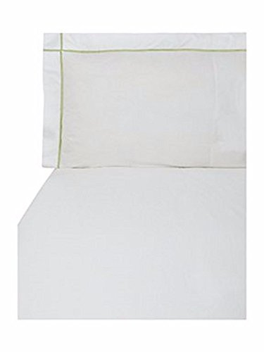 (Yves Delorme Athena White Euro Continental Shams Pair Jade Stripe 100% Egyptian Cotton Palace Collection 500TC)
