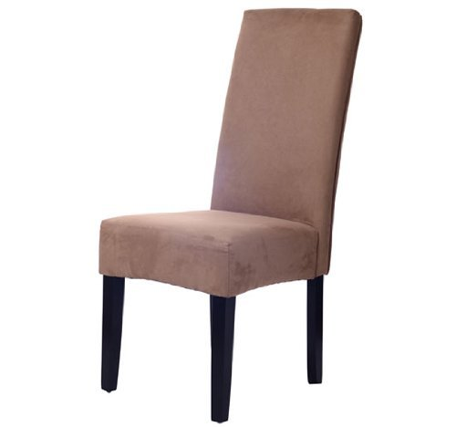 Homcom Faux Suede Contemporary Parson Dining Chair Brown