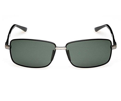 Heartisan Men's Retro Full Frame Rectangular Polarized Lens Sunglasses - Aviator Sunglasses Elle