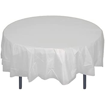 12 Pack Premium Plastic Tablecloth 84in. Round Table Cover   Clear