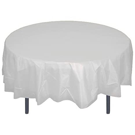 Etonnant 12 Pack Premium Plastic Tablecloth 84in. Round Table Cover   Clear