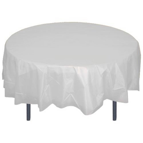 12-Pack Premium Plastic Tablecloth 84in. Round Table Cover -