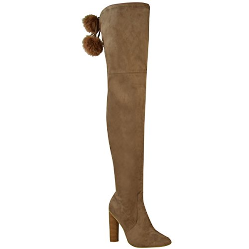 Womens Thigh Fashion Brown Pom Knee Thirsty Pom High High Stretch Faux Heels Boots The Over Suede Size Mocha rrZ5qwE