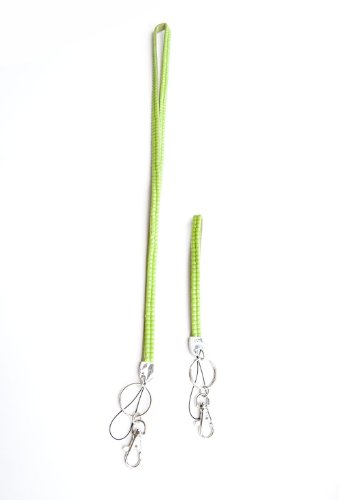 Set of Neon Green Rhinestone Lanyard and Wristlet For ID Badge with Lobster Claw and Keychain