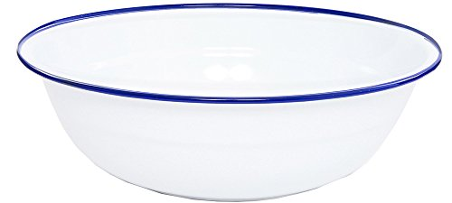 Crow Canyon - Enamelware Timpano Basin - Solid White with Blue Rim