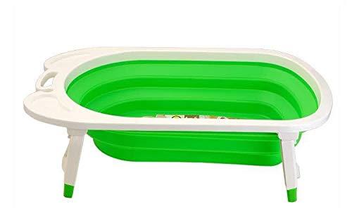 Keraiz Collapsible Baby Bath Tub | Portable Infant Shower Tube | Newborn Wash Foldable Bathtub (Green)