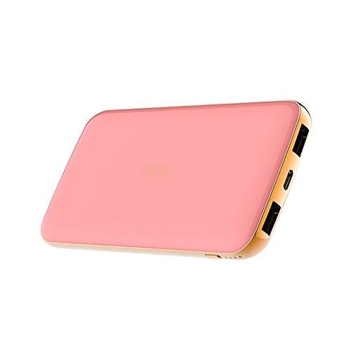 Power Bank, OKZU 10000mAh Thin, Lightweight Portable Charger, Compact External Battery Pack with USB Type-C Input & Output for iPhone, Samsung, Huawei and More Devices (Pink)