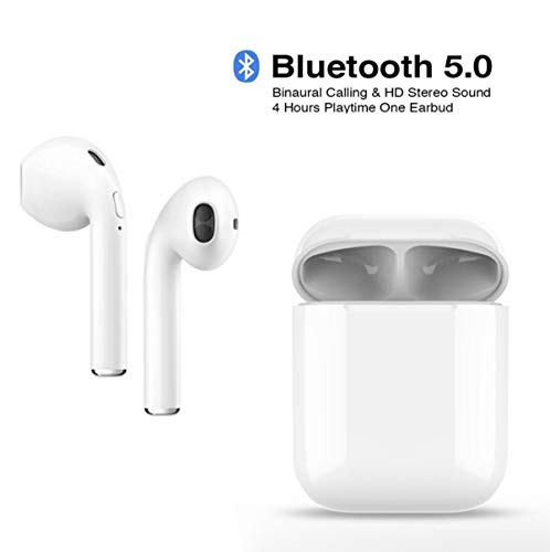 Wireless Earbuds, Bluetooth 5.0 Headphones HiFi Stereo Sports Headsets Compatible with iPhone XMAS/XR/X/8/7/6/6s Plus Android S7 S8 S9 S10 Plus Samsung Galaxy Huawei-White