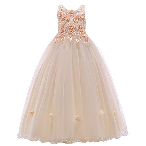 Flower Girl Lace Floor Length Tulle Dress for Kids Wedding Bridesmaid Pageant Party Prom Formal Ball Gown Princess Puffy Dance Evening Gown Champagne 9-10 Years (Theme Wear Christmas Pageant)