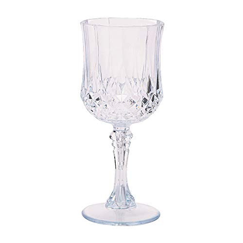 Fun Express - Plastic Clear Patterned Wine Glasses for Wedding - Party Supplies - Drinkware - Re - Usable Cups - Wedding - 12 Pieces
