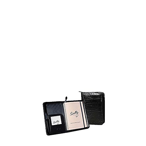 Scully Leather Zip Weekly Planner - Croco BLK