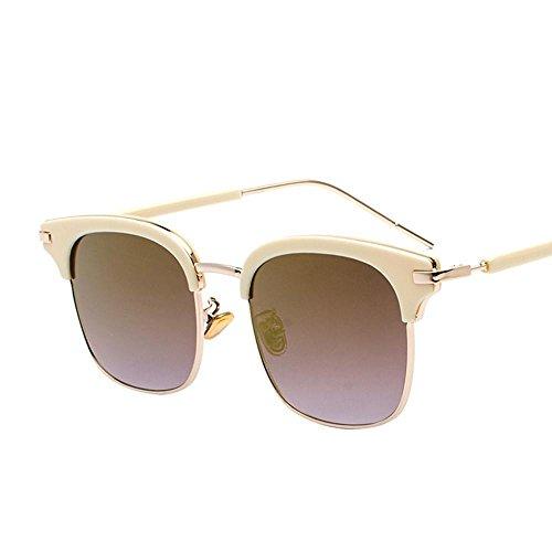 Aoligei Lunettes de soleil Lady Chao Mans rond visage personnalité carré demi cadre lunettes de soleil hommes pilote miroir 6TE0uQpd