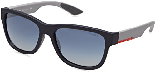 Prada PS03QS Sunglasses UR73A0-57 - Blue Rubber Frame, Light Grey Gradient Blue (Linea Rossa Prada Sunglasses)