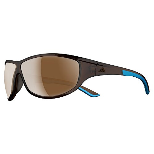 adidas Daroga Wrap Sunglasses, Brown Transparent/Blue - Lst Contrast Silver, 68 -