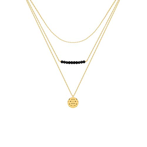 S.J JEWELRY Womens Simple Delicate Handmade 14K Gold Filled/Rose Gold/Silver Simple Delicate Heart and Bar Chokers Necklace for Mothers Day-NK-Black 3Layered