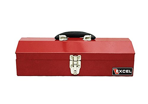 Red Tool - Excel TB102-Red 16-Inch Portable Steel Tool Box, Red