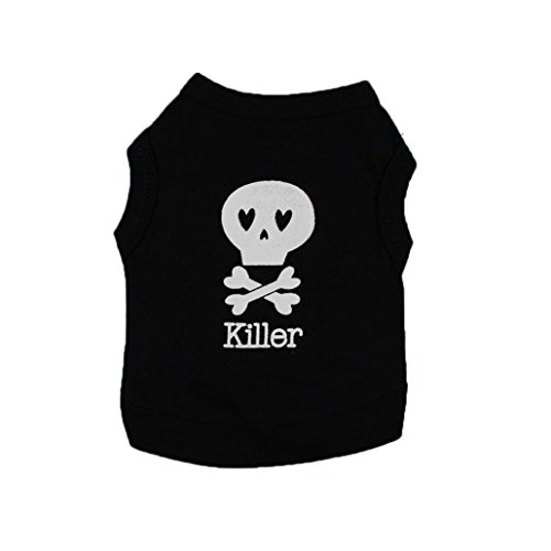 Dog Clothes Wakeu Pet Puppy Skull Killer Pattern T-shirt Apparel for Small Dog Boy Chihuahua Yorkie (Black, S)