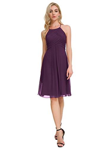 Alicepub Chiffon Bridesmaid Dresses Halter Cocktail Dress Short Homecoming Party Dresses Plus Size, Grape, Custom Size]()