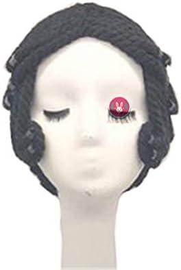 「Azuiblc」踊り子風 黒色 可愛い ツェレ 女の子 美人 ウィッグ ウイッグ ロングカール つけ毛 コスプレ道具 小物 仮