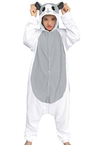 dressfan Unisex Animal Cosplay Costume Grey Hamster Pajamas Adult