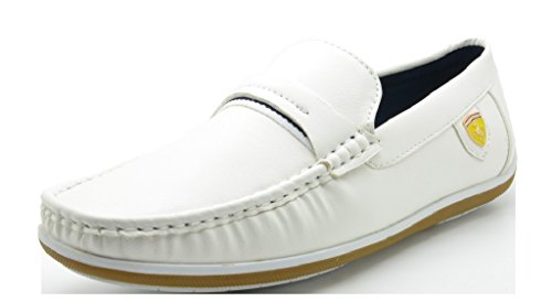 Shoes Italian White (BRUNO MARC NEW YORK Bruno Marc Men's BUSH-01 White Driving Loafers Moccasins Shoes - 8 M US)