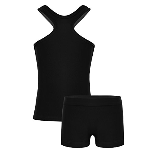 (dPois Kids Girls' Sports Workout Dance Gymnastics Two-Pieces Outfit Racer Tank Top with Bottoms Set Black)