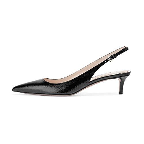 FSJ Women Classic Slingback Pumps Low Kitten Mid Heels Sandals Pointy Toe Comfortable Formal Dress Shoes Size 6 Black Lines