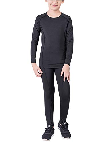 Minghe Boys Fleece Base Layer Set 2 PC Compression Suit Warm Thermal Top and Bottom Underwear