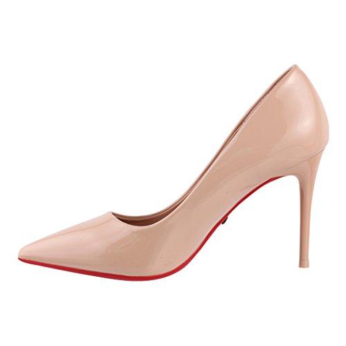 pump chunkyrayan Beige con a stiletto tacco punta Elara tacco con con comode eleganti Paris scarpe HqdTU7